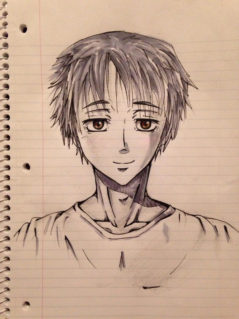 Anime Guy Sketch by HawkRose00