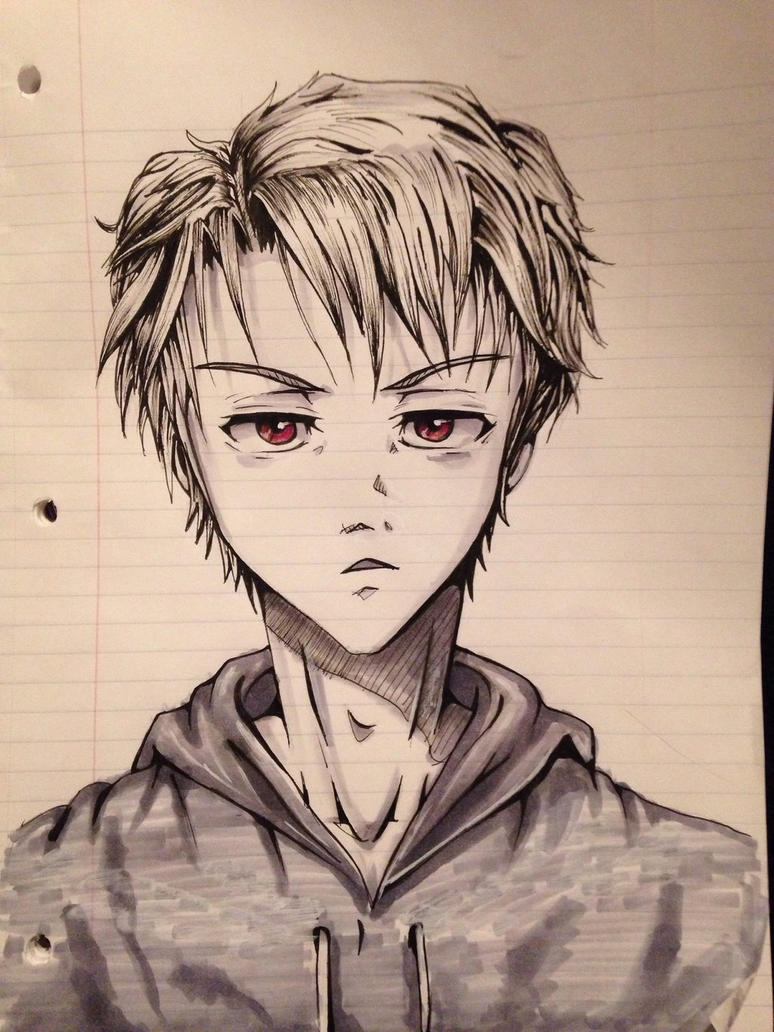 Anime Guy Sketch 4 by HawkRose00