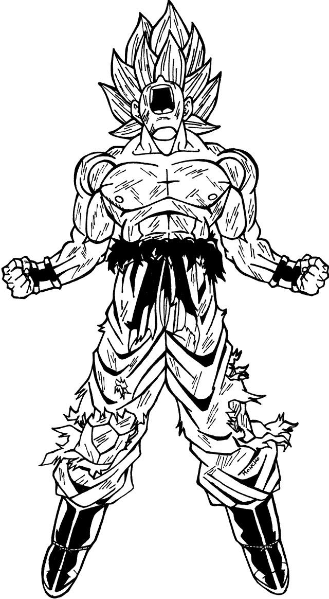 super saiyan 3 goku colouring pages