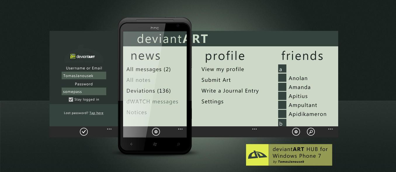 deviantART HUB for WP7 by TomasJanousek