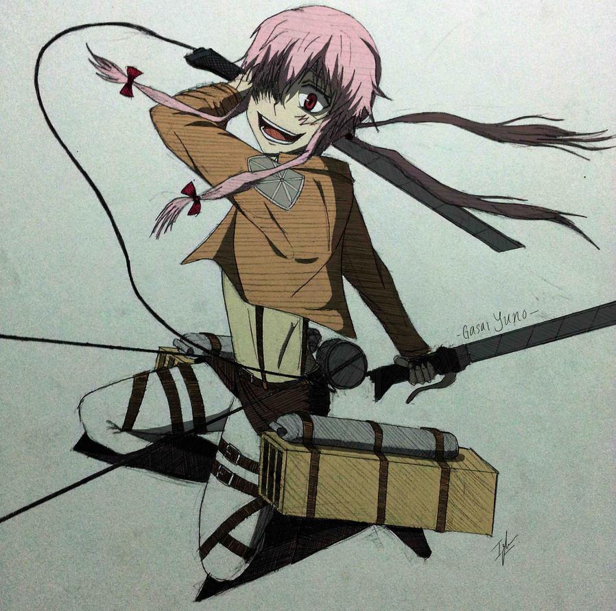 Gasai Yuno X SnK Colored By Izham ZK9