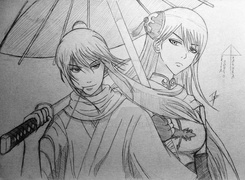 Sougo 'Hitokiri' Okita x Kagura by Izham-ZK9