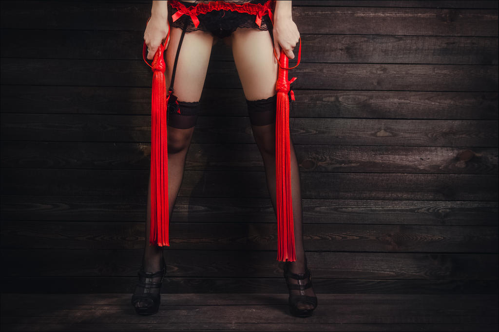 Lady With Two Red Floggers by MarquisDeBliss by U-ni-corn