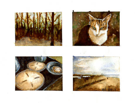 Miniature coffee paintings
