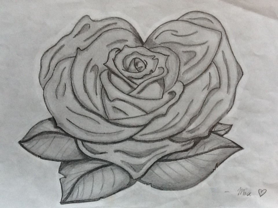 Heart And Rose Love Drawings Rose-Heart by M...