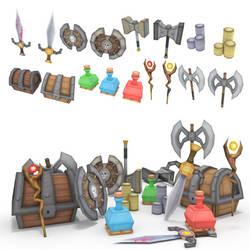 low poly RPG item set