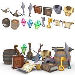 low poly RPG item set 2