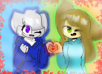 Art collab with Arrin loves sans by Perkpool12