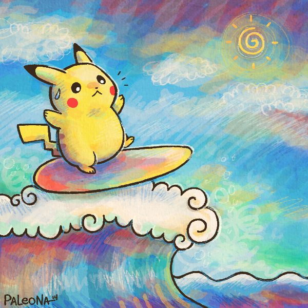 Surfing Pikachu by Paleona