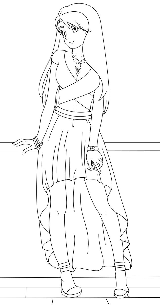 Line Art Girl : Anime girl line art by christinepi on deviantart
