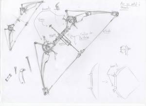 Fantasy viking mechanical bow sketch