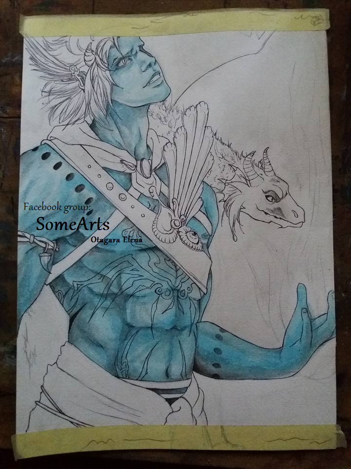 Fantasy man with dragon by ElenaChiyan