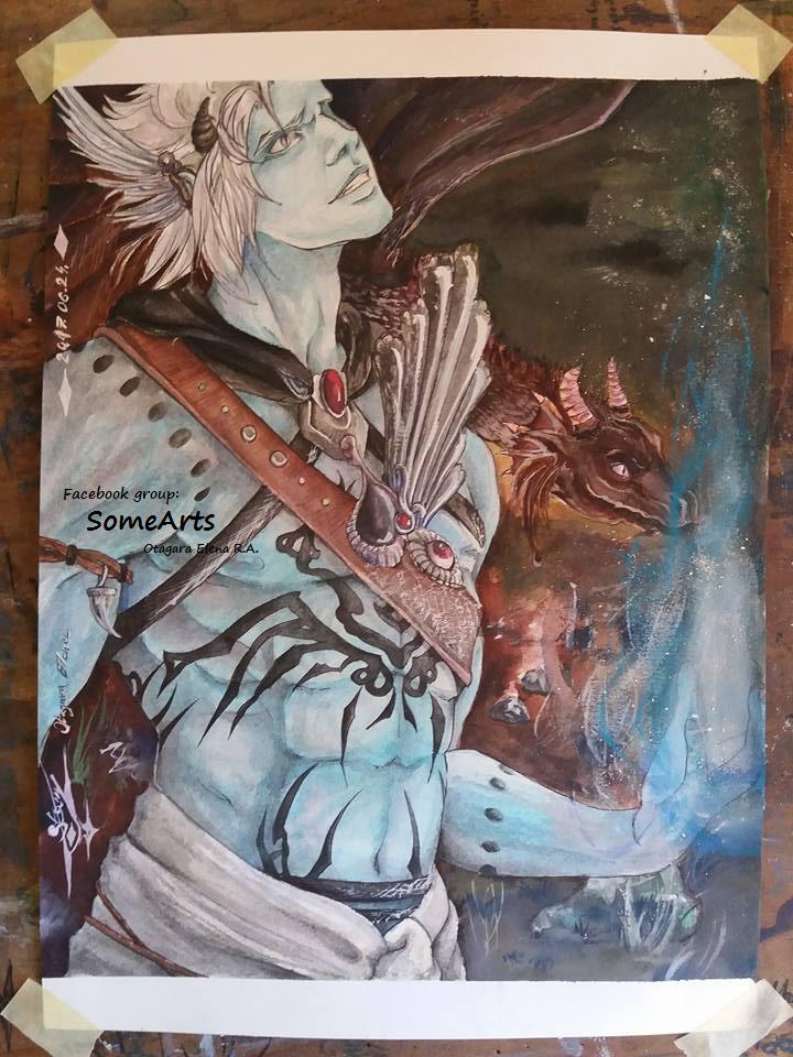 Fantasy man with dragon ( Garbutt - Dakoren) by ElenaChiyan