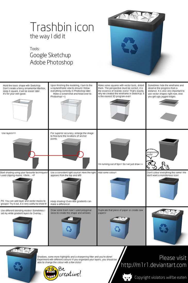 How to make a trashbin icon by m1r1