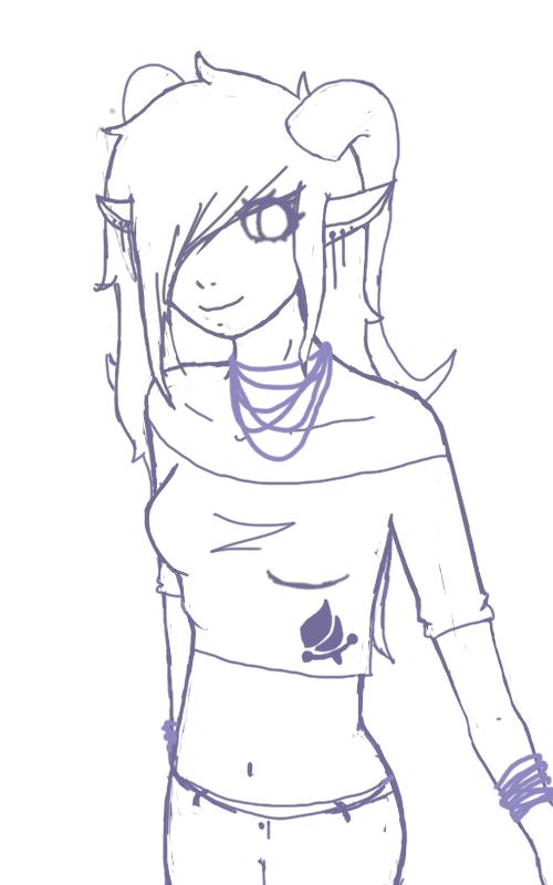 homestuck troll girl lineart by RainbowAurora