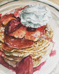 Delicious pancakes watercolor painting!