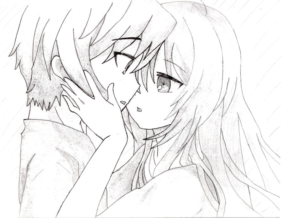 anime couple coloring pages kissing - photo#22