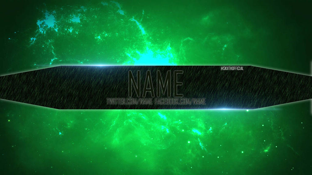 Channel art template 2 green slime by skiithofficial on for Cool youtube channel art templates