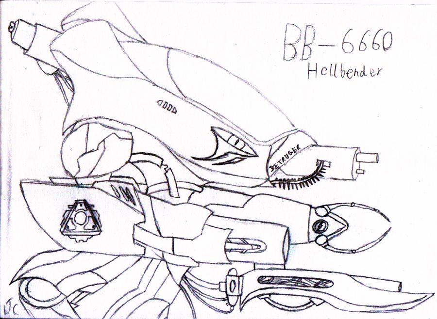Hellbender Mech Lineart by DarkStarAngelo