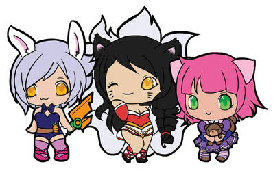 Riven, Ahri, Annie by littleredren