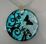 Blue Butterfly Swirls Pendant
