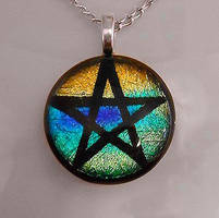 Colorful Pentacle Dichroic by HoneyCatJewelry