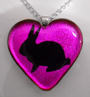 Magenta Bunny Heart Pendant by HoneyCatJewelry