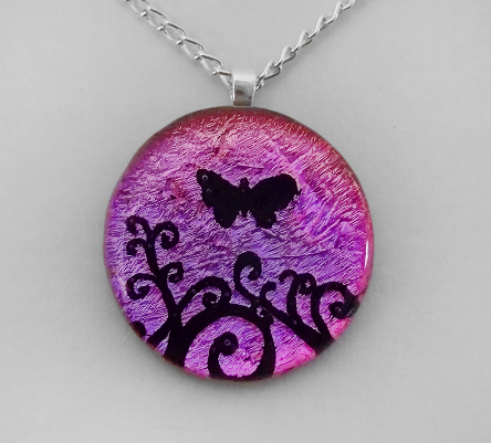 Magenta Butterfly Swirls Glass by poisons-sanity