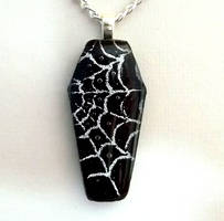 Spiderweb Coffin Pendant by HoneyCatJewelry