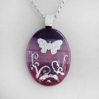 Purple Butterfly Glass Pendant by HoneyCatJewelry