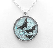 Silver Moon with Bats Pendant