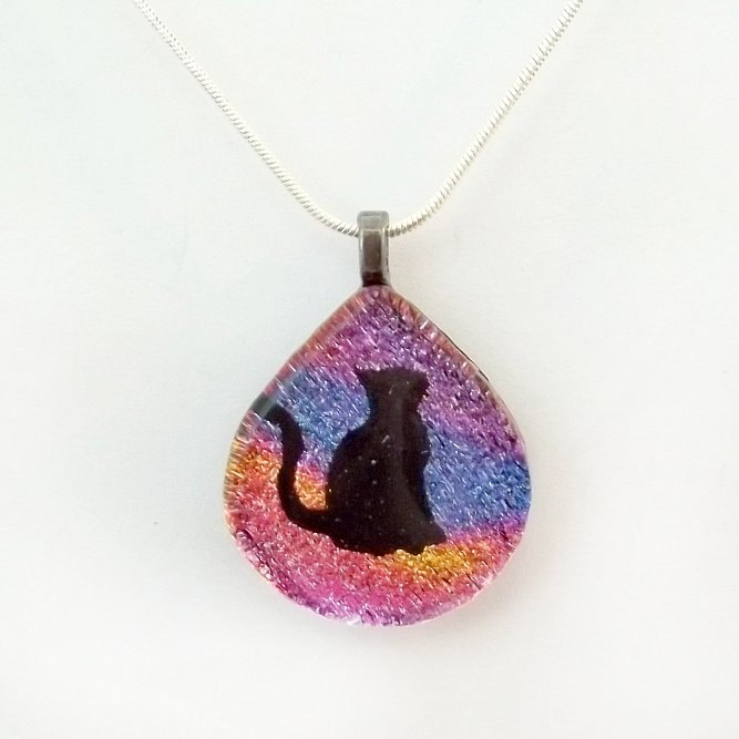 Kitty Cat Fused Dichroic Glass Pendant by poisons-sanity