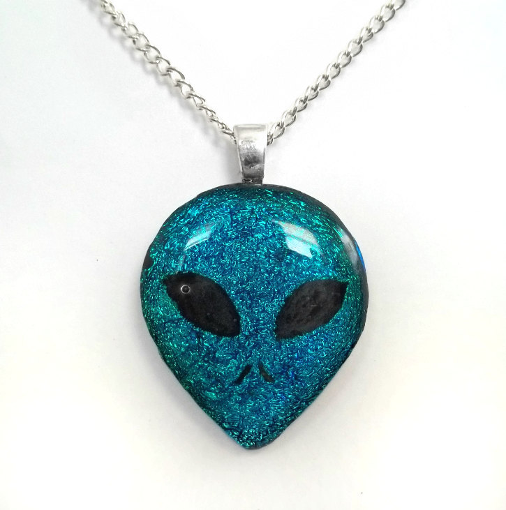 Alien head fused dichroic glass pendant by honeycatjewelry on deviantart alien head fused dichroic glass pendant by honeycatjewelry aloadofball Gallery
