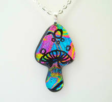 Super Rainbow Magic Mushroom Dichroic Fused Glass