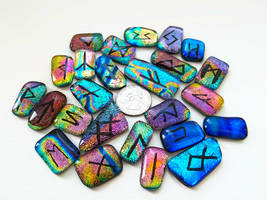 Fused Dichroic Glass Rune Set