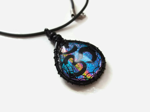 Wire Wrapped Ohm Dichroic Glass Pendant by poisons-sanity
