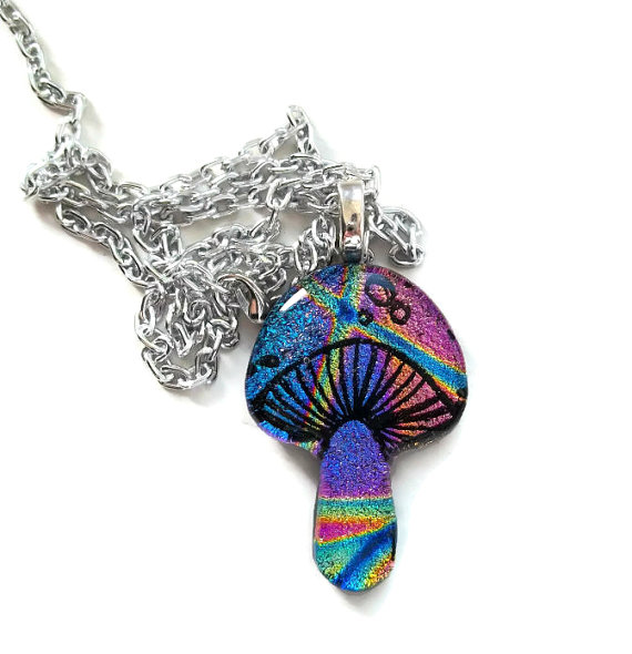And Another Rainbow Magic Mushroom Fused Glass by poisons-sanity