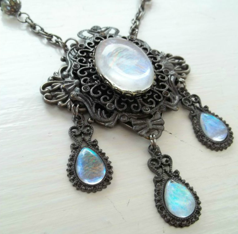 Victorian Glass Moonstone Necklace by poisons-sanity