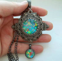 Victorian Glass Art Opal Necklace by HoneyCatJewelry