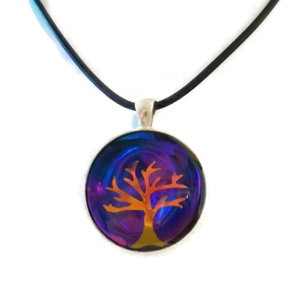 Sunset Holographic Tree of Life by HoneyCatJewelry
