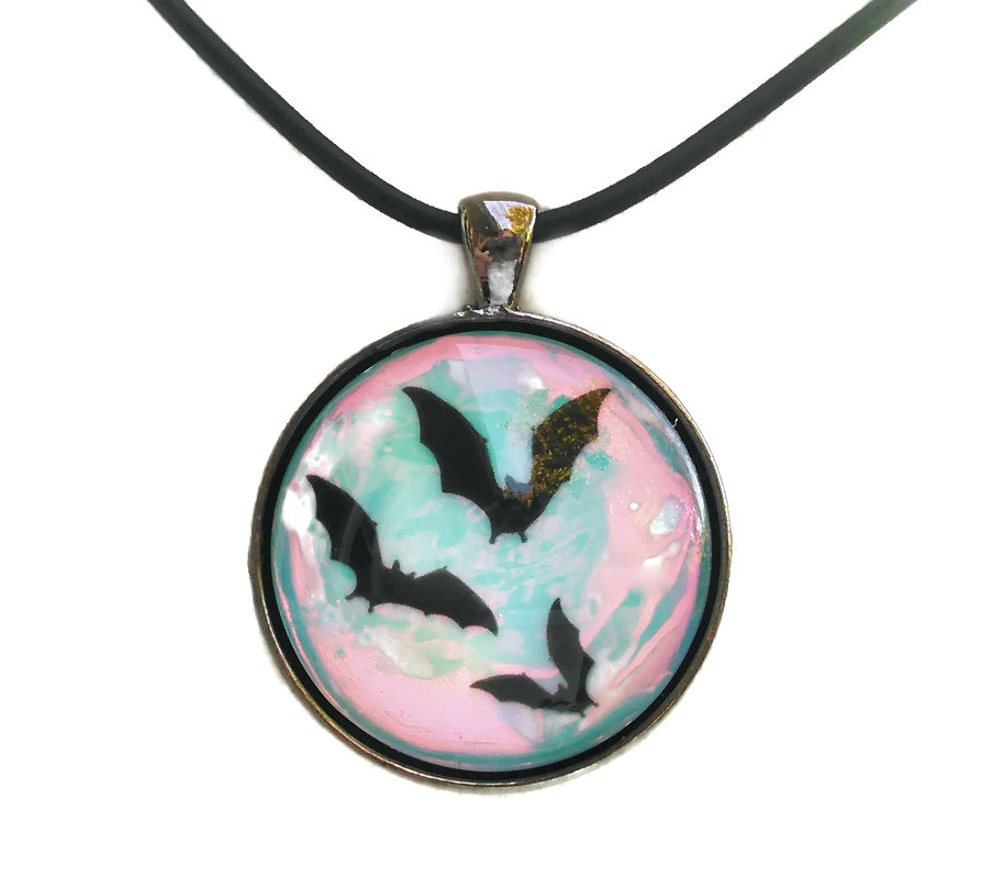 Bats on Full Moon Color-shift Glass Jewel Pendant by HoneyCatJewelry