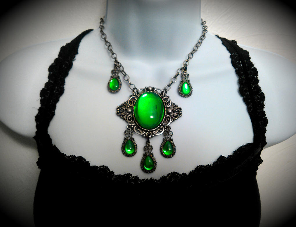 Poison Absinthe Glass Gem Necklace by HoneyCatJewelry