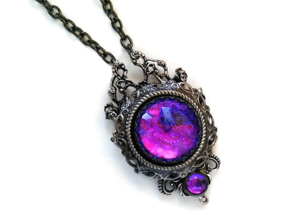 Holographic Purple Orb Necklace by HoneyCatJewelry