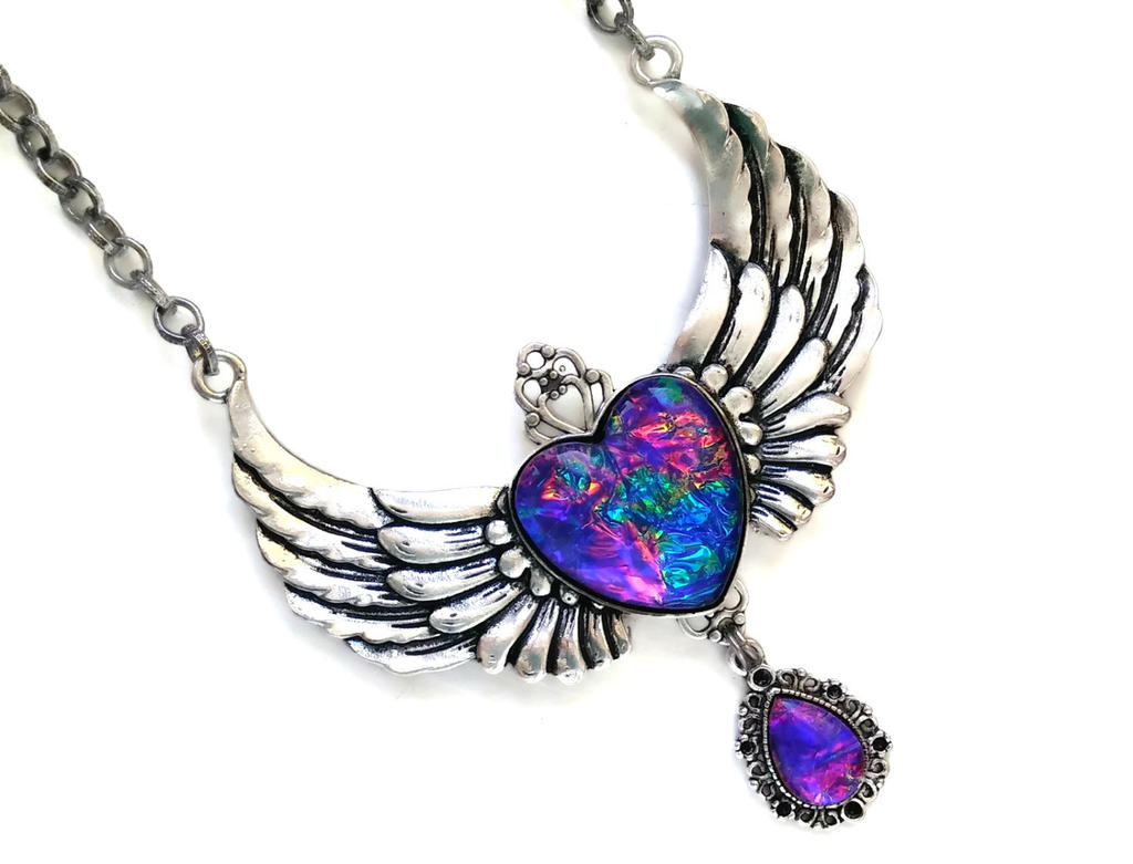 Rainbow Winged Heart Necklace by HoneyCatJewelry