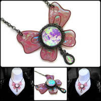 Big Iridescent Butterfly Necklace