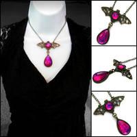 Dragon's Breath Glass Opal Bat Necklace