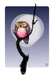Sleepy Circle Owl by FionaCreates