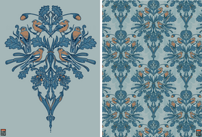 Illustrated Damask - Chaffinch and Oak by FionaCreates
