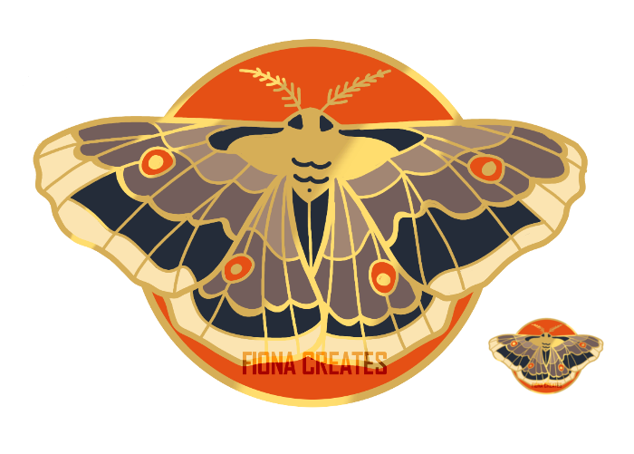 Moth Pin Design by FionaCreates
