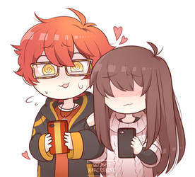Mystic Messenger 707 and MC: Awkward Contact